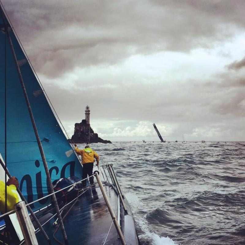 An onboard shot shows Volvo 70 Monster Project coming up to the iconic Fastnet Rock in the Rolex Fastnet Race this year - photo © Monster Project