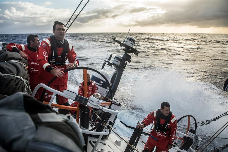On board Vestas 11th Hour Racing during Volvo Ocean Race Leg 2: Lisbon to Cape Town photo copyright Martin Keruzore / Volvo Ocean Race taken at  and featuring the Volvo One-Design class