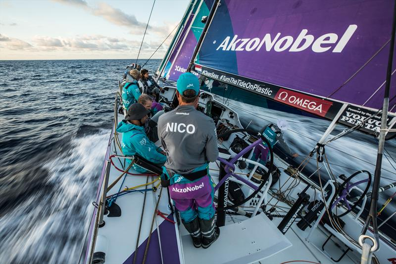 On board Team AkzoNobel during Volvo Ocean Race Leg 2: Lisbon to Cape Town photo copyright Ugo Fonolla / Volvo Ocean Race taken at  and featuring the Volvo One-Design class