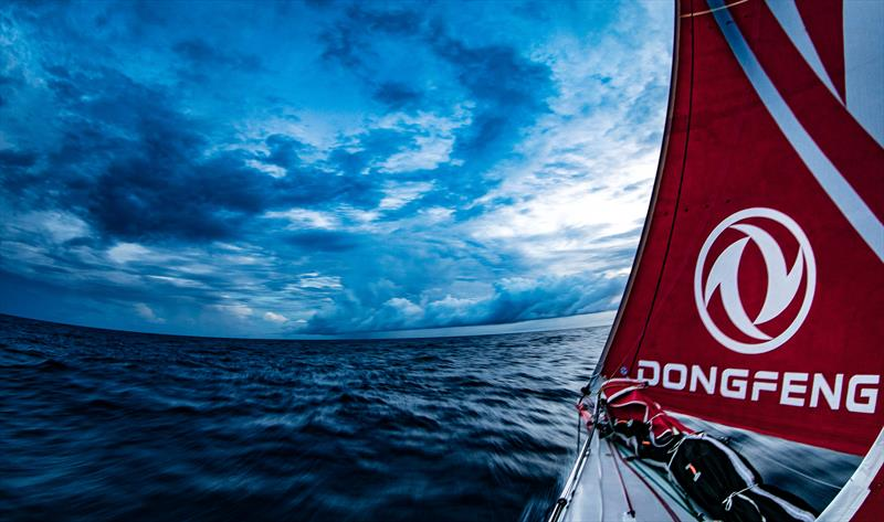 Sunset showers on board Dongfeng during Volvo Ocean Race Leg 2: Lisbon to Cape Town - photo © Jeremie Lecaudey / Volvo Ocean Race