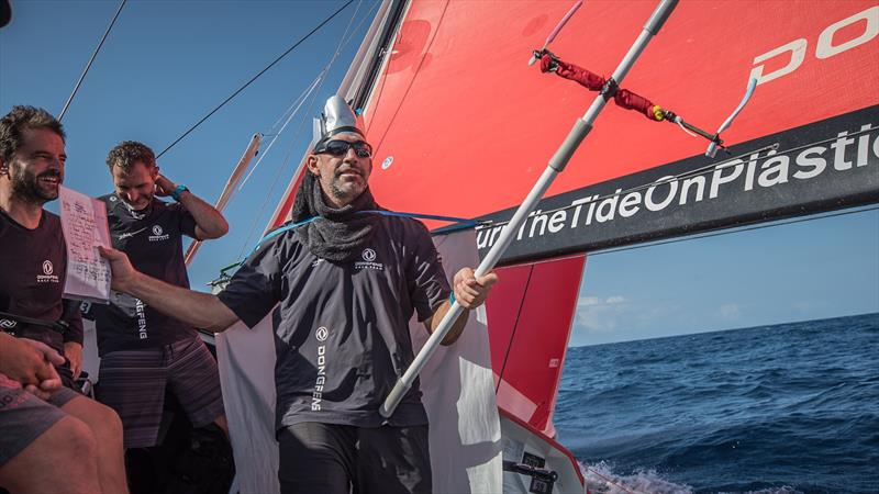 Sunrise on board Dongfeng, crossing the equator - photo © Jeremie Lecaudey / Volvo Ocean Race