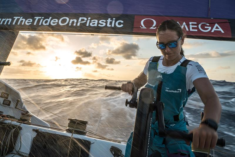 On board AkzoNobel Emily Nagel is the youngest female sailor in the Volvo Ocean Race  - photo © James Blake / Volvo Ocean Race