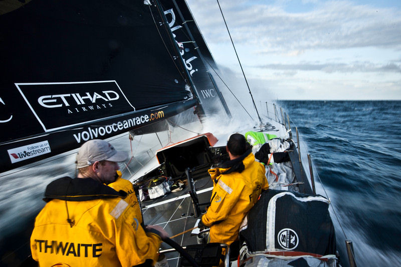 Craig Satterthwaite helming onboard Abu Dhabi Ocean Racing during leg 6 of the Volvo Ocean Race photo copyright Nick Dana/Abu Dhabi Ocean Racing/Volvo Ocean Race taken at  and featuring the Volvo 70 class