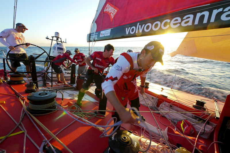 All action in the pit during a sail change onboard CAMPER during leg 6 of the Volvo Ocean Race photo copyright Hamish Hooper / CAMPER ETNZ / Volvo Ocean Race taken at  and featuring the Volvo 70 class