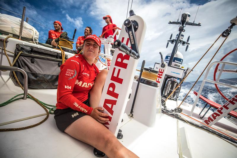 Leg 4, Melbourne to Hong Kong, day 12 on board MAPFRE, Tamara Echegoyen in stand by for trim. photo copyright Ugo Fonolla / Volvo Ocean Race taken at  and featuring the Volvo One-Design class