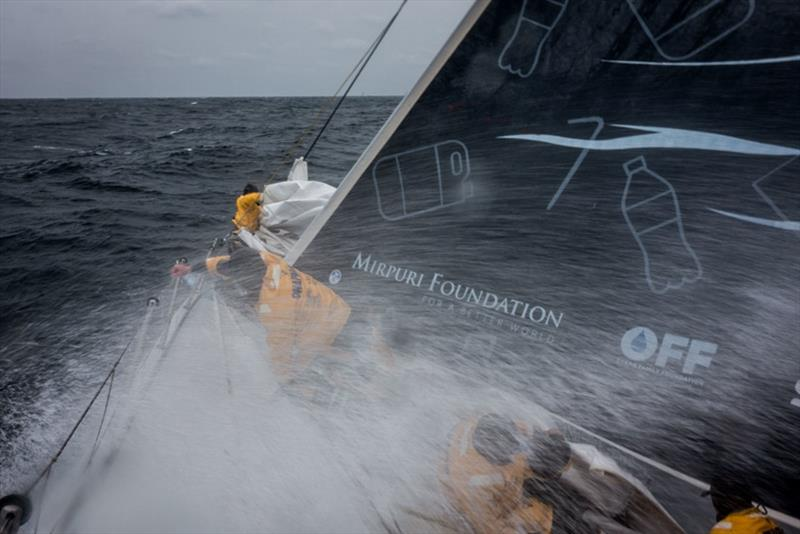 Volvo Ocean Race Leg 6 to Auckland, day 1 on board Turn the Tide on Plastic. Crew up the bow taking a hammering. 07 February. photo copyright James Blake / Volvo Ocean Race taken at  and featuring the Volvo One-Design class