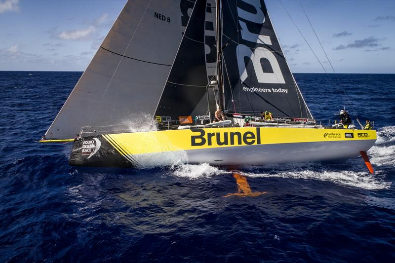 Leg 6 to Auckland, Day 7 on board Brunel. Sail change. Carlo Huisman. Kyle Langford. Drone. 13 February, . photo copyright Yann Riou / Volvo Ocean Race taken at  and featuring the Volvo One-Design class