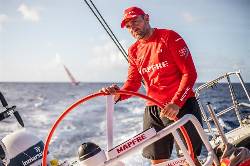 Leg 6 to Auckland, Day 7 on board MAPFRE, Xabi Fernandez stearing, Dongfeng at the background. 13 February, . photo copyright Ugo Fonolla / Volvo Ocean Race taken at  and featuring the Volvo One-Design class