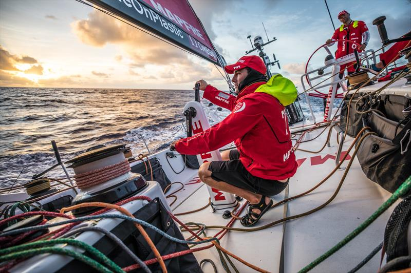 Leg 6 to Auckland, Day 7 on board MAPFRE, Blair Tuke trimming at the sunset. 13 February, . photo copyright Ugo Fonolla / Volvo Ocean Race taken at  and featuring the Volvo One-Design class