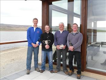 Vortex Nationals prize winners (l to r) Jonathan lister (3rd), Richard Robinson (standard fleet champion), Phil Whitehead (Vortex champion), Keith Escritt (2nd)