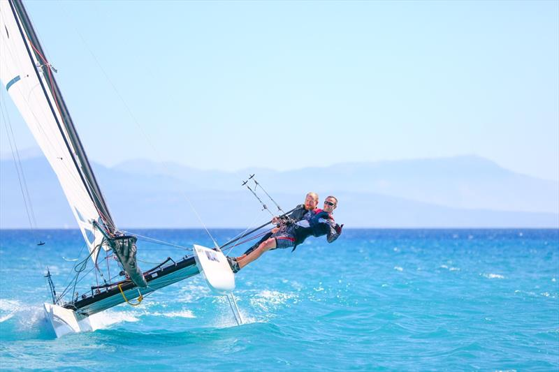 Joe sailing the Hobie Tiger at Vassiliki - photo © Georgina Craig Harvey