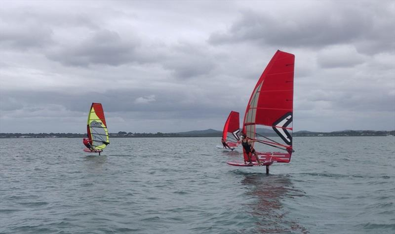 Windfoil training on Moreton Bay in light winds - photo © Ash Brunning
