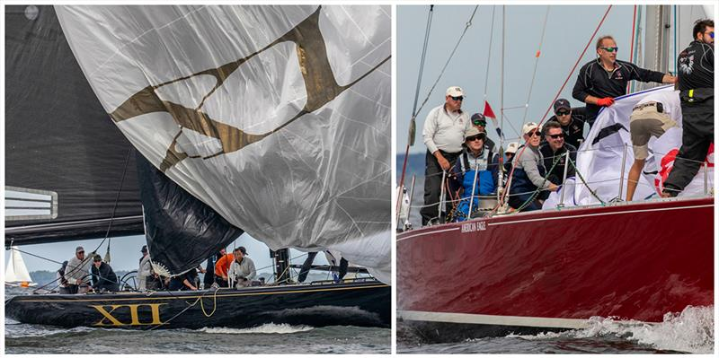 Action aboard winners Challenge XII and American Eagle at the 2018 12 Metre North American Championship held in Newport, R.I. - photo © George Bekris