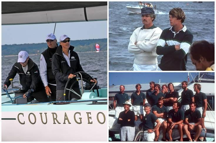 Clockwise from left: Arthur Santry at the helm of Courageous (US-26) with Gary Jobson behind him. Gary Jobson and Ted Turner in 1977; the winning Courageous crew in 1977 - photo © SallyAnne Santos/Windlass Creative / Gary Jobson