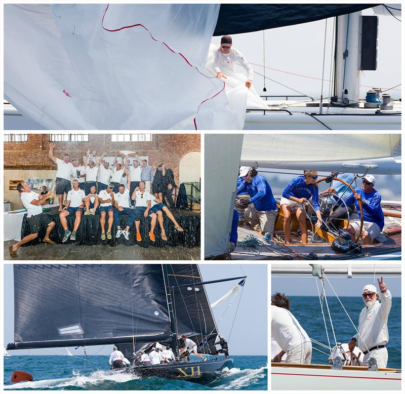 Clockwise from top: Crew work on Legacy (KZ-5); Legacy celebrates at the awards ceremony; Helmsman Kevin Hegarty aboard Columbia (US-16); Challenge 12 (KA-12) in its final race; Mauro Pelaschier, helmsman of Nyala (US-12) - 12 Metre World Championship photo copyright Ian Roman taken at Ida Lewis Yacht Club and featuring the 12m class