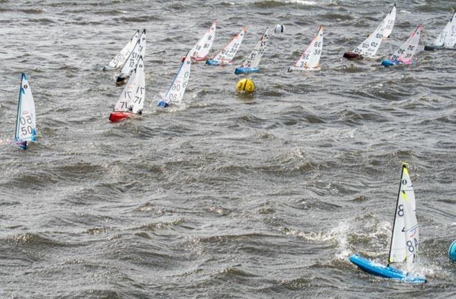 IOM class yachts at a rounding mark off Montrose Bay on the River Derwent - 2018 IOM ® National Championships - photo © Robert Gavin