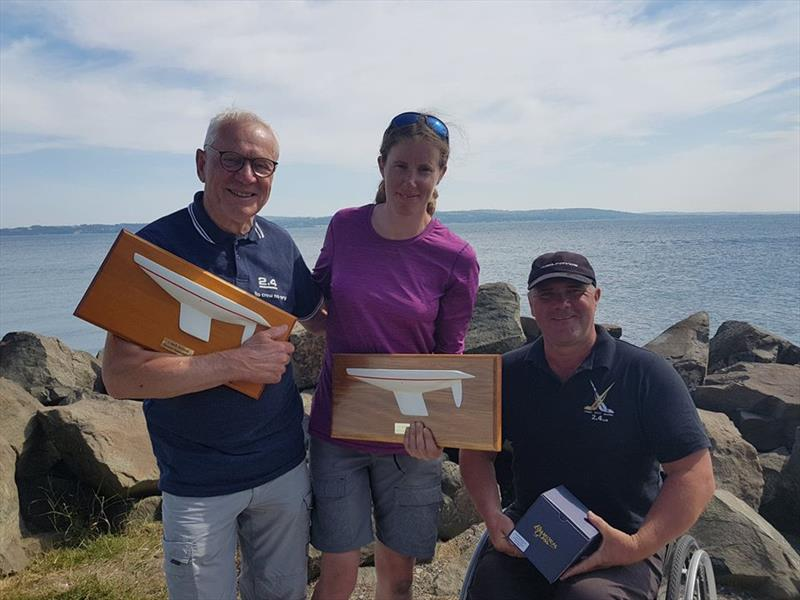 Top three in the Irish 2.4mR Nationals at Carrickfergus - photo © Nigel Thompson.
