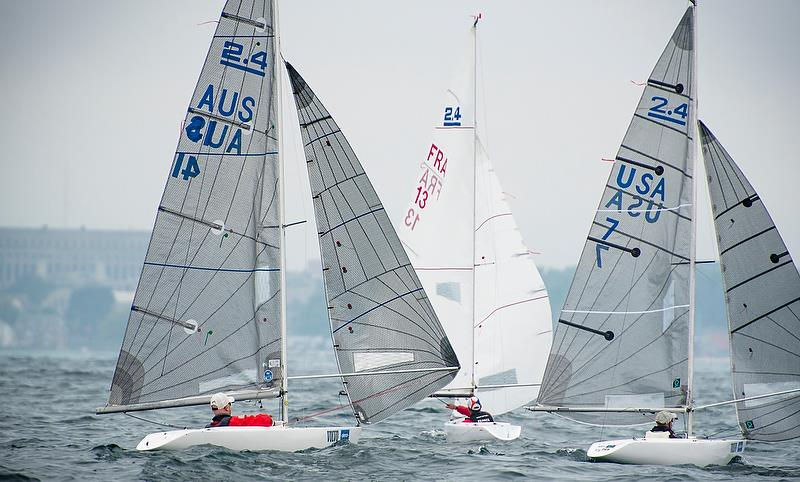 Three lead boats - 2.4mtr - Day 3 - Para Sailing World Championship, Sheboygan, Wisconsin, USA.  - photo © Cate Brown