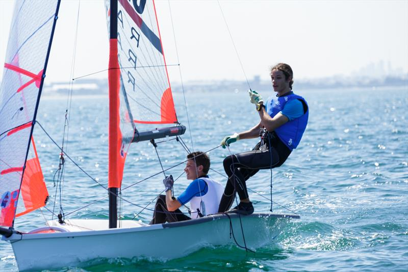 Hansen and Colley win the 29er class at the Yachting NSW Youth Championships - photo © Robin Evans