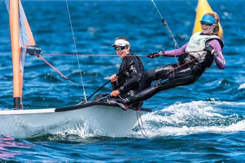 Matilda O'Donoghue and Abbey Calvert racing in the 29ers - Day 2, Australian Sailing Youth Championships 2019 - photo © Beau Outteridge