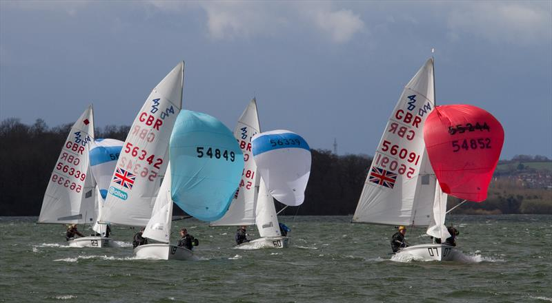 Bertie Fisher and Charlie Bacon leading the 420 fleet downwind during the 420 Inlands at Rutland - photo © Richard Sturt
