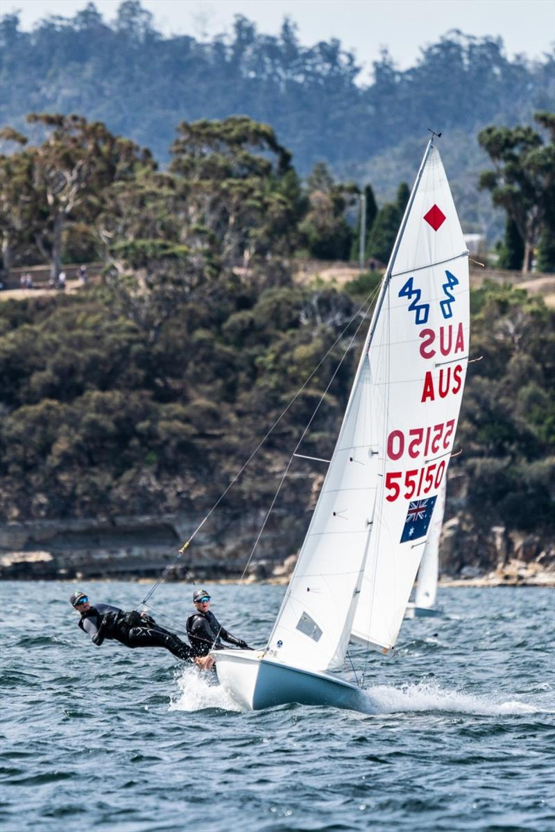 Matilda and Lily Richardson (Vic) in the 420s - Day 2, Australian Sailing Youth Championships 2019 photo copyright Beau Outteridge taken at Royal Yacht Club of Tasmania and featuring the 420 class