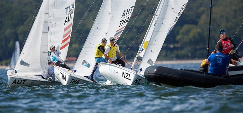 Seb Menzies and Blake McGlashan (NZL) - 420 - Day 5 - 2019 Hempel Youth Sailing World Championships, Gdynia, Poland - photo © Jacek Kwiatkowski / World Sailing