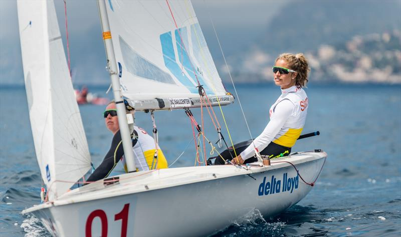 Afrodite Zegers/Anneloes Van Veen (NED-1) win the Women's European title at the 470 Europeans at Monaco - photo © Mesi