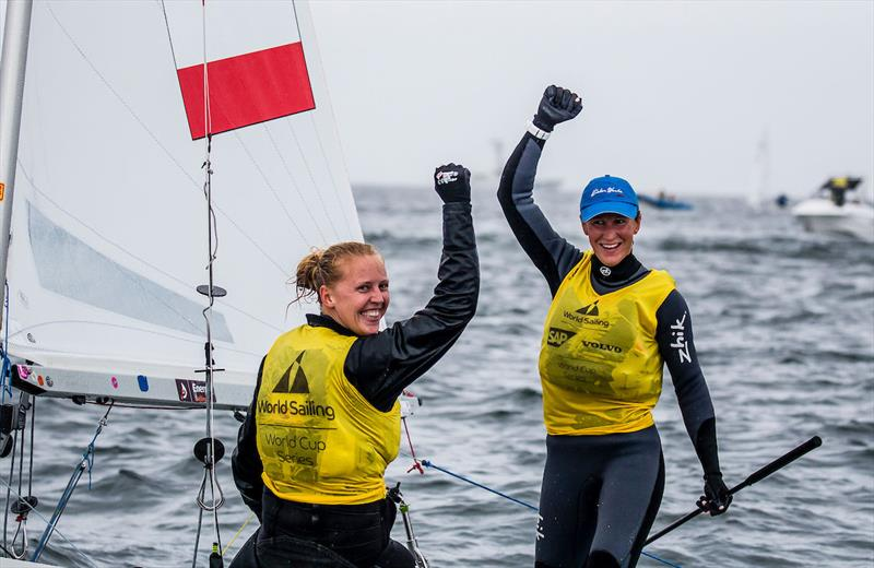470 Women's Champions Agnieszka Skrzypulec and Irmina Mro´zek Gliszczynska (POL) at 2017-18 World Cup Series in Gamagori, Japan photo copyright Jesus Renedo / Sailing Energy / World Sailing taken at  and featuring the 470 class