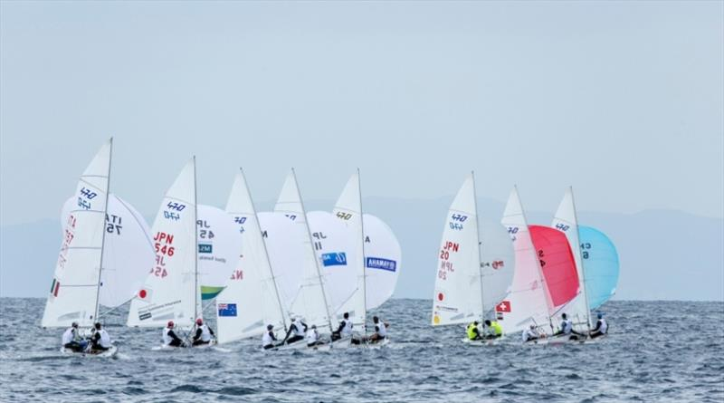 470 fleet on Day 2 at World Cup Series Enoshima - photo © Jesus Renedo / Sailing Energy / World Sailing