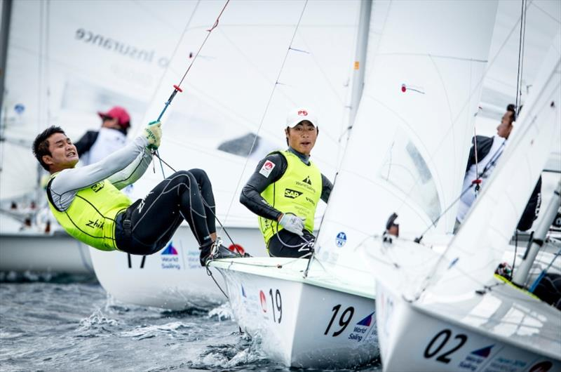 Keiju Okada and Jumpei Hokazono (JPN) in the 470 on Day 2 at World Cup Series Enoshima - photo © Jesus Renedo / Sailing Energy / World Sailing