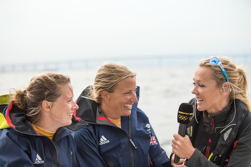 Shirley Robertson interviews Team GBR's Hannah Mills (left) and Saskia Clark (center) photo copyright Image courtesy of the Shirley Robertson Collection taken at Royal Ocean Racing Club and featuring the 470 class