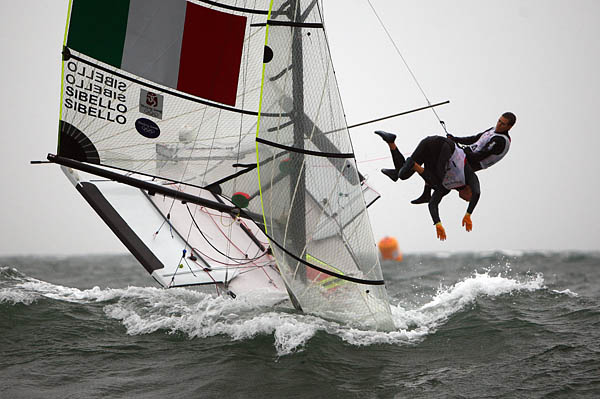 The Italian Sibello brothers watch their gold medal hopes go down the mine during the 49er medal race at the 2008 Olympic Sailing Regatta - photo © Richard Langdon / Ocean Images