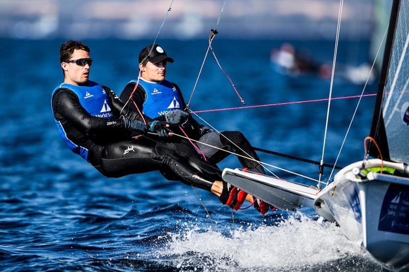 Diego Botin and Iago Lopez in the 49er on World Cup Hyères day 4 - photo © Pedro Martinez / Sailing Energy / World Sailing