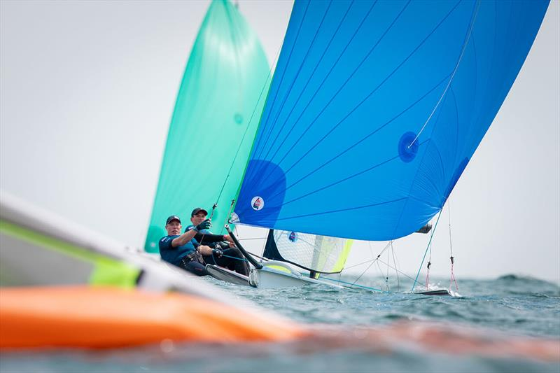 Dylan Fletcher and Stuart Bithell on day 4 of the Volvo Nacra 17, 49er and 49er FX European Championship - photo © Nick Dempsey / RYA