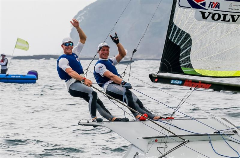 Dylan Fletcher and Stuart Bithell (GBR) celebrate their silver medal at Ready Steady Tokyo - photo © Jesus Renedo / Sailing Energy / World Sailing