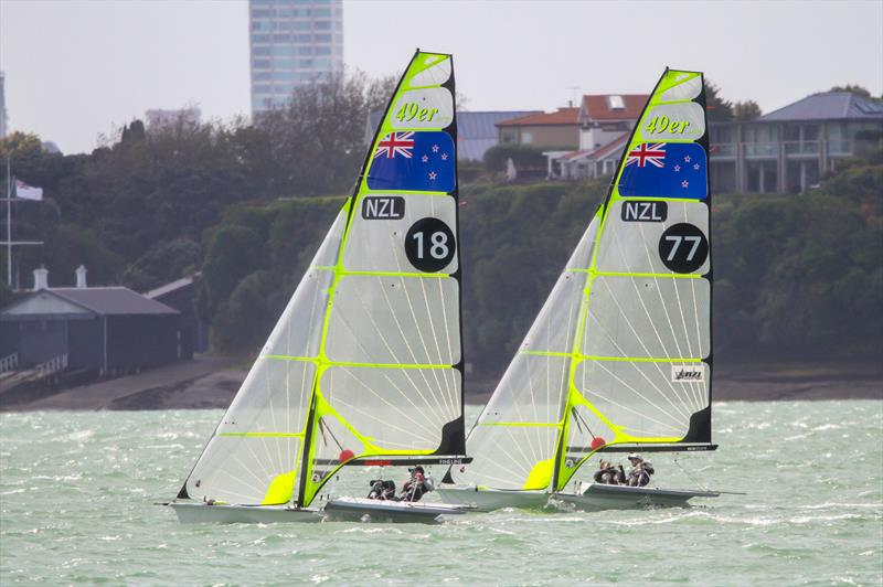Peter Burling and Blair Tuke (77) training ahead of the 4019 49er Worlds, Auckland, December 3-8, 2019 - photo © Richard Gladwell / Sail-World.com