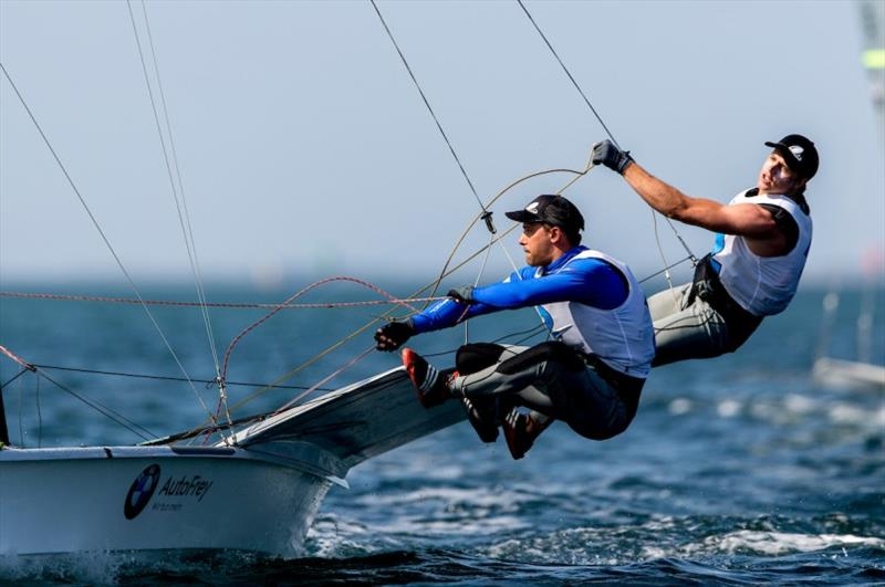 Benjamin Bildstein & David Hussl (AUT) lead the 49er pointscore - 2020 49er, 49er FX & Nacra 17 World Championship, day 4 photo copyright Pedro Martinez / Sailing Energy taken at Royal Geelong Yacht Club and featuring the 49er class
