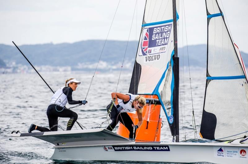 Charlotte Dobson and Saskia Tidey (GBR)  in the 49er FX on Day 2 at World Cup Series Enoshima - photo © Jesus Renedo / Sailing Energy / World Sailing
