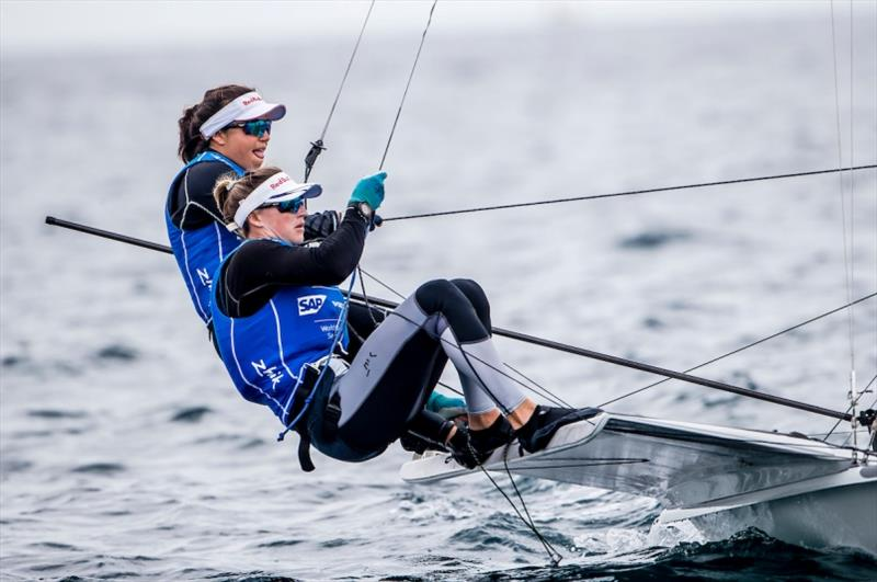 Alex Maloney and Molly Meech (NZL) in the 49er FX on Day 2 at World Cup Series Enoshima - photo © Jesus Renedo / Sailing Energy / World Sailing