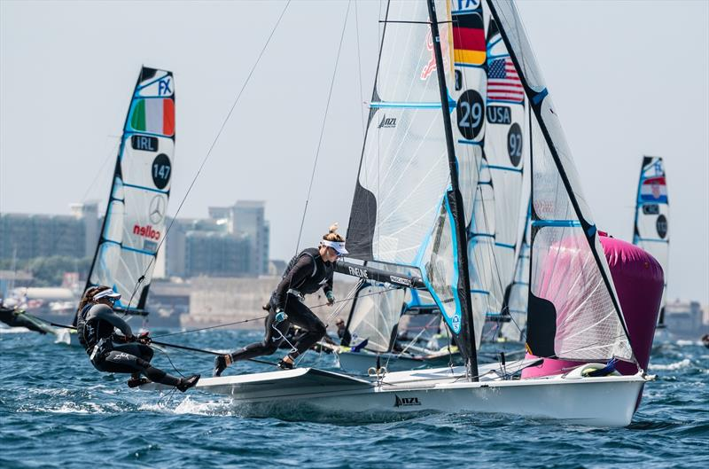 Alex Maloney and Molly Meech (NZL) - 49er FX European Championship - Weymouth - Day 3 - photo © Drew Malcolm