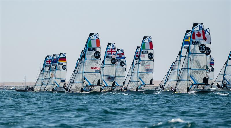 49erFX start - 2019 49er, 49erFX and Nacra 17 European Championships - photo © Drew Malcolm
