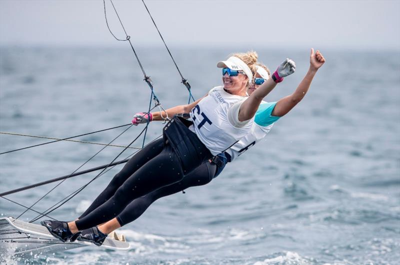 Helene Næss and Marie Rønningen (NOR) win the medal race and secure second overall at Ready Steady Tokyo Sailing 2019 - photo © Jesus Renedo / Sailing Energy / World Sailing