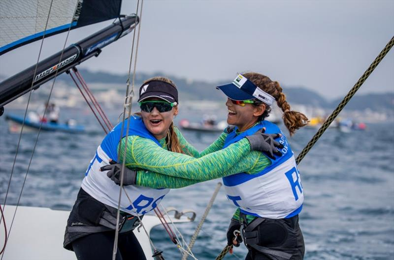 Brazil's Kahena Kunze (L) and Martine Grael celebrate their win at Ready Steady Tokyo - photo © Jesus Renedo / Sailing Energy / World Sailing