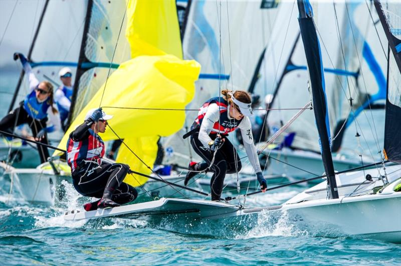Ida Marie Baad Nielsen and Marie Thusgaard Olsen - 2019 Hyundai 49er, 49erFX and Nacra 17 Worlds day 4 - photo © Pedro Martinez / Sailing Energy