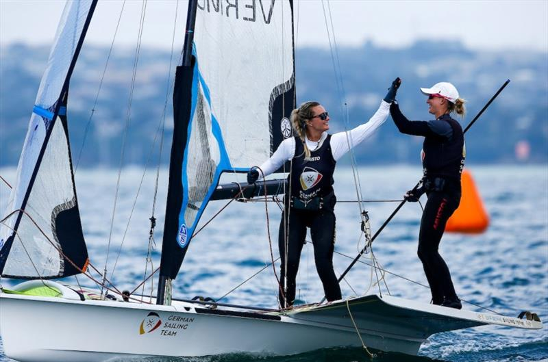 Tina Lutz and Lotta Wiemens (GER) combined beautifully on day 1 of racing at the 2020 World Championship photo copyright Jesus Renedo / Sailing Energy / World Sailing taken at Royal Geelong Yacht Club and featuring the 49er FX class