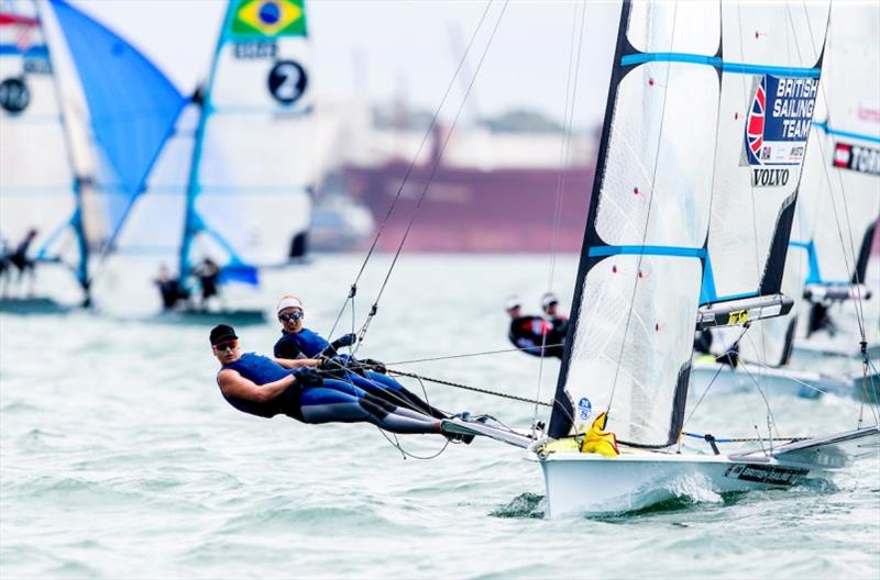GBR team Charlotte Dobson and Saskia Tidey - 2020 49er, 49er FX & Nacra 17 World Championship, day 3 photo copyright Pedro Martinez / Sailing Energy taken at Royal Geelong Yacht Club and featuring the 49er FX class
