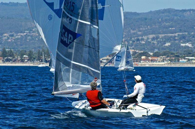 SAP has been a long time sponsor of sailing - SAP founder Hasso Plattner (GER) competing in the 2007 SAP 505 Worlds in Adelaide photo copyright Richard Gladwell taken at Adelaide Sailing Club and featuring the 505 class
