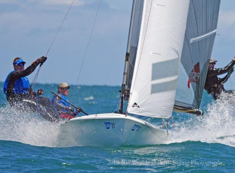 Penny and Russ Clark in the class-owned boat at the 505 World Championship in Fremantle - photo © Perth Sailing Photography