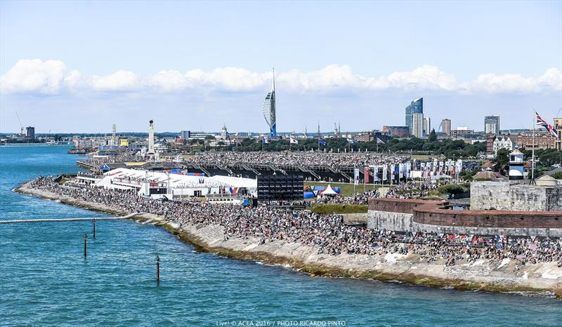 Huge crowds watch the action at Louis Vuitton America's Cup World Series Portsmouth - photo © Ricardo Pinto / ACEA 2016